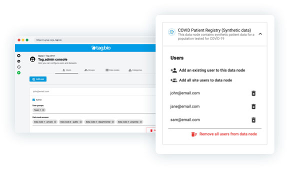 Tag.bio enterprise features - data governance